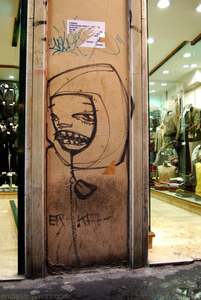 Street Art Graffiti Character Rome Italy.