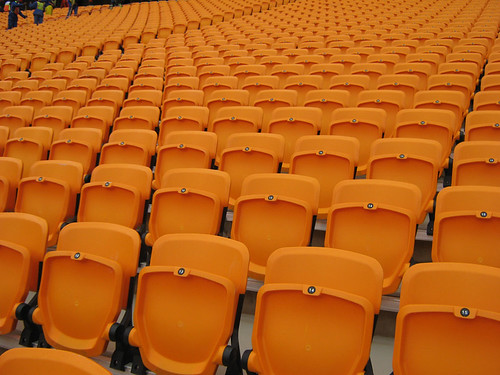 Rows of seats at Soccer City Stadium