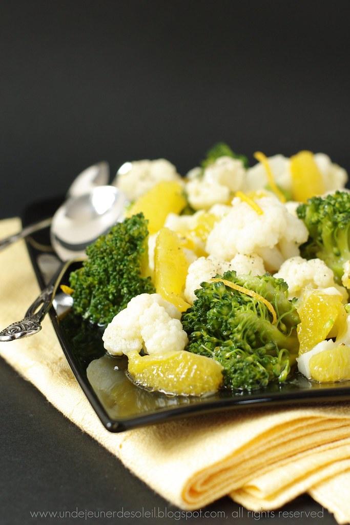 Salade broccoli, chou-fleur et orange