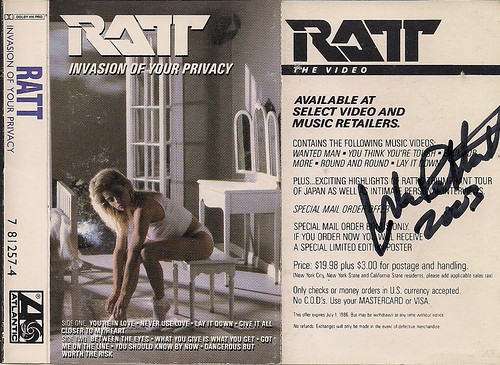 1985 Ratt Invasion Of Your Privacy Cassette J-Card (Autographed by Warren DeMartini)
