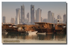 Once Upon A Time in Doha (Jun Qatar) Tags: morning sea water beautiful misty digital port boat nikon flickr gulf shot fort foggy best doha qatar bestshot d90 80200mmf28 daghfal