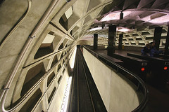 Federal Triangle Metro Station (stormdog42) Tags: station underground subway concrete washingtondc washington districtofcolumbia publictransportation metro geometry traintracks platform strangers turnstiles ceiling masstransit railing unionstation conduit