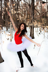 More snow (TheLittleSwan) Tags: trees red ballet snow forest woods tutu pointeshoes