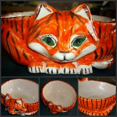 Sharon's TigerCat Bowl 2010 (Chipmunk Hill Arts) Tags: art ceramic clay picnik chipmunkhillartscom tigercatbowl
