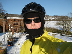 Finally, I get out on my bike in 2010! (James_at_Slack) Tags: winter selfportrait snow home me garden scotland aberdeenshire helmet armslength shades sp buff giro birdfeeders cyclehelmet sunglassed ixus70 cyclejacket marinowoolbuff