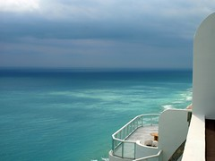 Storm approaching (ChinaLeft) Tags: ocean blue sky storm green beach water clouds florida miami stormy condo highrise beaches miamibeach condominium miamiflorida