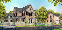 rendering, new neighborhood in Davidson (by: Dover Kohl & Partners)