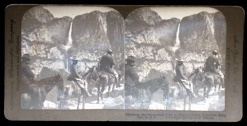 Climbing the dangerous trail to Glacier Point, Yosemite Falls, Cal., U.S.A. American Stereoscopic Company. 1902