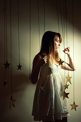 (-Fearless-) Tags: lighting light portrait selfportrait girl self dark hair stars person star glow shine darkness random metallic twist boredom redhead dreams wishes lit starry starrynight