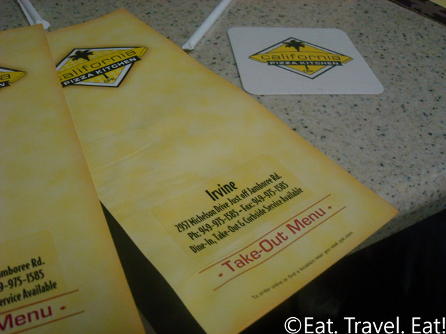 CPK Irvine Menu and Cup Placemat