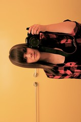 sidewayellow (ro sea) Tags: selfportrait black me yellow canon hair bathroom flannel bangs canonrebelt1i