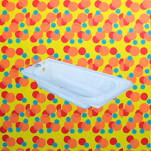 Tub on Bubble Pattern, Acrylic & Oil on Canvas, 31cm x 31cm by Robin Clare