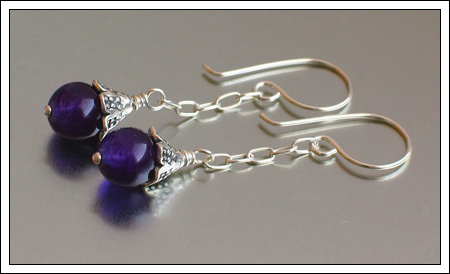 Amethyst jade earrings