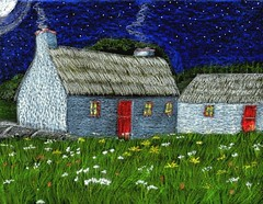 Granny's Irish Cottage (traqair57) Tags: ireland irish art heritage erin drawing country farmland eire farms crayons stpatricksday donegal cottages stushie