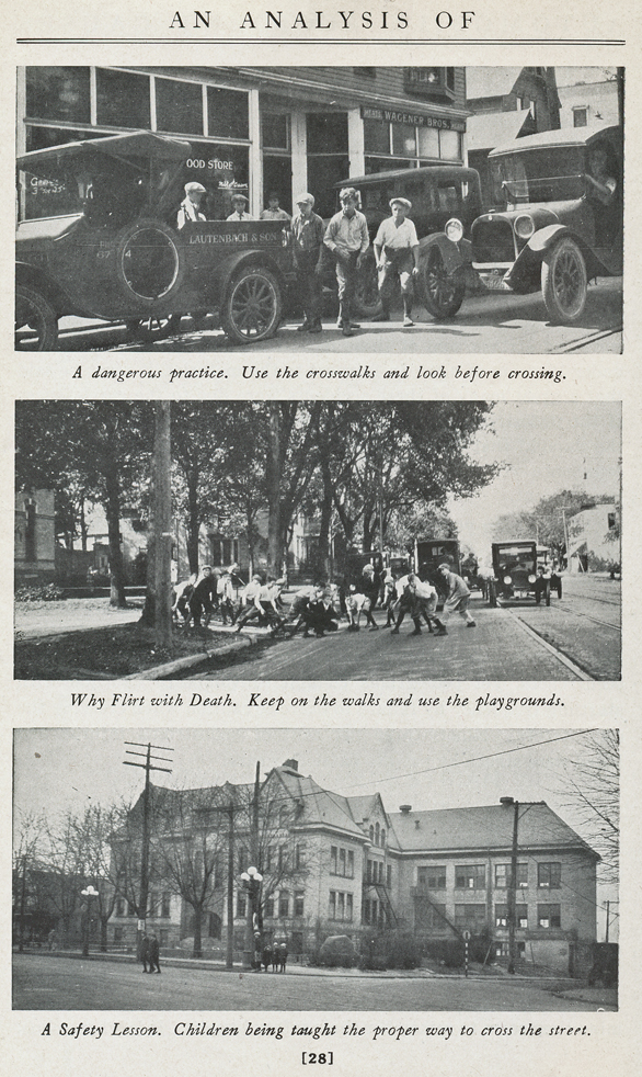 THINK - Grand Rapids automobile guide from 1925 - Kids in traffic