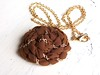 Chained rose necklace in milk chocolate (StudioElenus) Tags: handmade jewelry handsewn etsy fabricroses chainedrose
