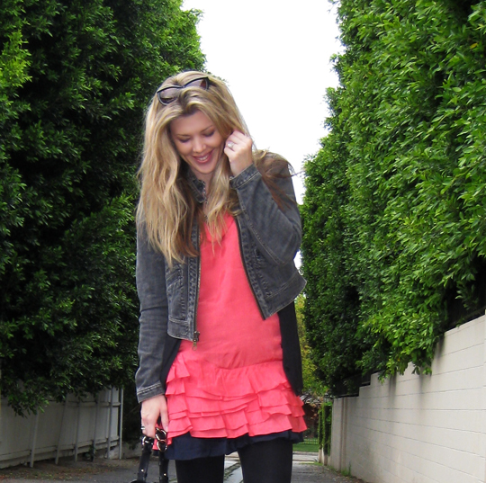 coral ruffle dress+1969 jacket+strappy wedges-6