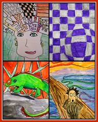 4 things my 4th graders have been working on.... (artsy_T) Tags: art portraits watercolor painting grid faces mixedmedia scream marker projects crazyhair chameleon opticalillusion elementary thescream oilpastel opart 4thgrade crazychameleons