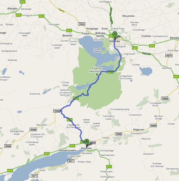 Roteiro de Carro - Killarney a Kenmare
