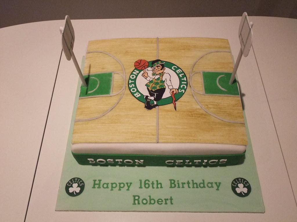 Boston Celtics Cake AndyK959 Tags Birthday White Green Basketball Court 16