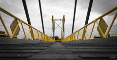 Yellow - #07 (Michel Waltrowski) Tags: wood yellow metal architecture jaune perspective symmetry pont métal bois symétrie passerelle