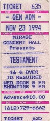 11/23/94 Testament/Red Square Black/Wickerman @ Minneapolis, MN (Ticket)