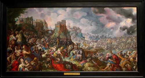 Gillis van VALCKENBORCH, Scène de bataille biblique (défaite de Sennachérib ?), 1597