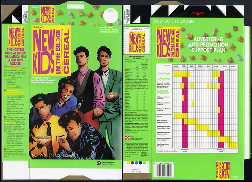 Ralston - New Kids on the Block cereal box - sales sample flat - 1990