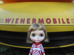 Isobel in front of the Wienermobile.