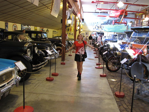 Becky with old timey cars