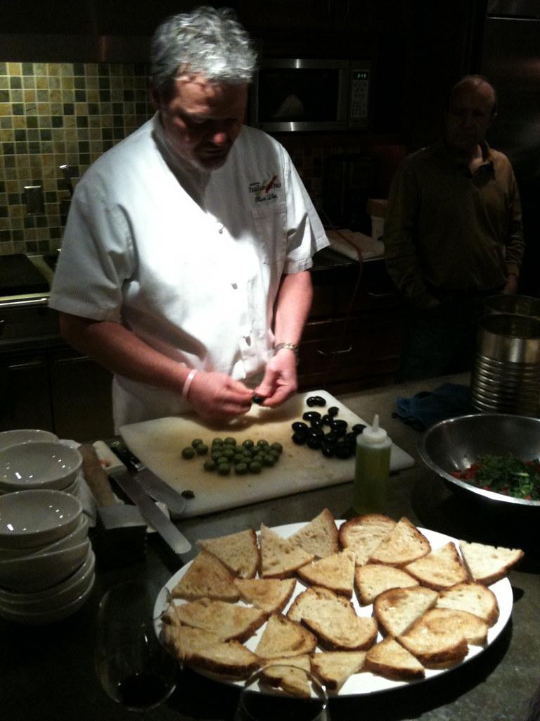 Preparing the bruschetta