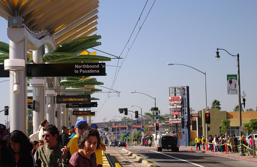Riders at the East L.A. Civic Center station wait for the next train going to Union Station.