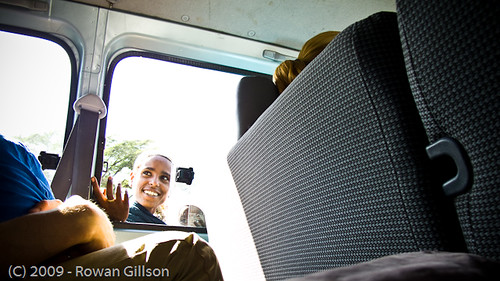 A woman and her child beg through the window of an American's van in Addis Ababa, Ethiopia..