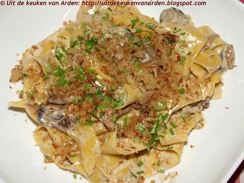 Pasta met paddenstoelen en mascarpone