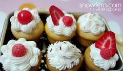 vanilla and lemon cupcakes (Snowfern) Tags: food cupcakes strawberry chocolate fake sprinkles clay donuts raspberry bjd minifood polymer minidonuts miniaturefood minicupcakes 14scale miniaturesweets miniaturedessert miniaturedonuts thedollaffair2009 miniaturessweets