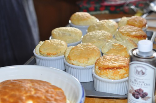Goat cheese souffles started it all. Not truffle oil in foreground.