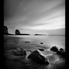 Four mile (Diego Tabango) Tags: ocean sf california longexposure sunset bw santacruz beach water cali outdoors coast blackwhite nikon rocks waves sigma shore nd filters swells stacks majors d300 fourmile bw110
