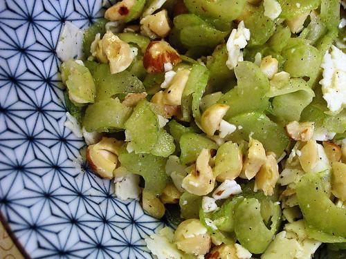 celery / manchego / hazelnut salsa