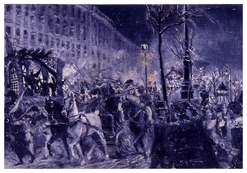 I.E.A. 28 FEBRERO 1903-1.º N.º VIII. Pág. 135. DESFILE A LA SALIDA DEL PARQUE- EL CARNAVAL EN MADRID- Dibujo de Segura