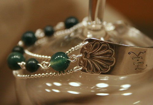 Silver spoon bracelet with moss agate