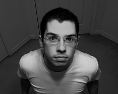 Day 81 (Marquette La) Tags: door white selfportrait man black male face wall shirt hair carpet grey glasses floor skin gray cropped forehead greyscale 365days 81365