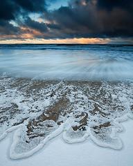 Hailstone Beach (TheNorthLight.co.uk (davidlangan)) Tags: snow art beach hail canon landscape scotland sand long exposure waves dynamic contemporary moray lossiemouth morayshire lossie