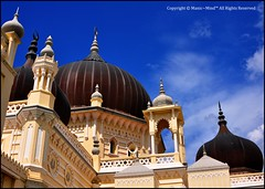 Irrespective of Religion, We Must Learn How to Respect One Another (Manic~Mind) Tags: old sky building architecture design nikon object perspective bluesky mosque structure malaysia dome moorish manmade tamron 28300mm kedah alorsetar masjidzahir manic~mind