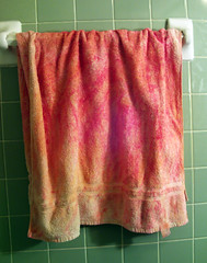 My Red Towel (Rachel Vex) Tags: red green tile bathroom towel dye haircolor