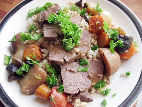 Pot Roast with red wine garlic sauce