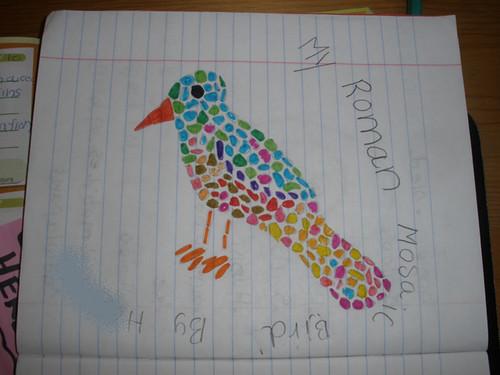 H's mosaic bird - I helped a little bit..