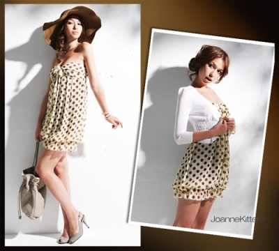 coffee coloured polka dot mini dress design