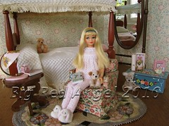 Skipper Love's to Read (Big Red Angel) Tags: vintage doll time dream skipper blond tnt diorama bigredangel 16scaledollfurniture dollhouselighting skippersizedollfurniture skippersizebunnyslippers