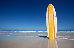 Retro surfboard Eyre Peninsula (john white photos) Tags: ocean sea orange beach yellow fun sand surf escape culture bluesky retro clean strip surfboard 1960s 1960