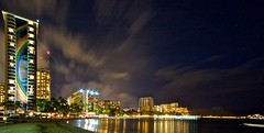Waikiki from the Hilton Lagoon (bob0sama) Tags: longexposure night hawaii waikiki oahu nightshots hiltonhawaiianvillage rainbowtower